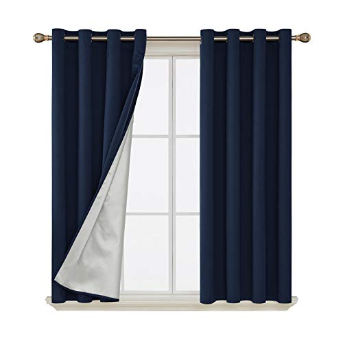 (Deconovo Room Darkening Thermal Insulated Blackout Curtains Grommet Draperies with Silver Coating for Kids Bedroom 52 by 54 Inch Navy Blue 2)