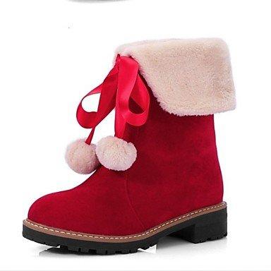 uk7 Otoño Tacón Robusto eu40 us9 redondo Botas Zapatos Negro Casual Dedo de nieve Amarillo Vestido SHAOYE cn41 Mitad de Vellón Mujer Para Botas Gemelo Rojo 8Cwtzqg