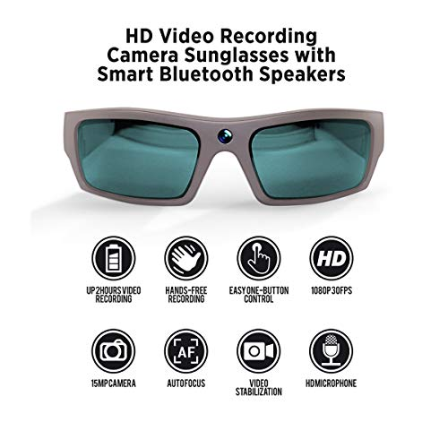 GoVision SOL 1080p HD Camera Glasses Video Recording Sport Sunglasses with Bluetooth Speakers and 15mp Camera - Warm - Head Pivot