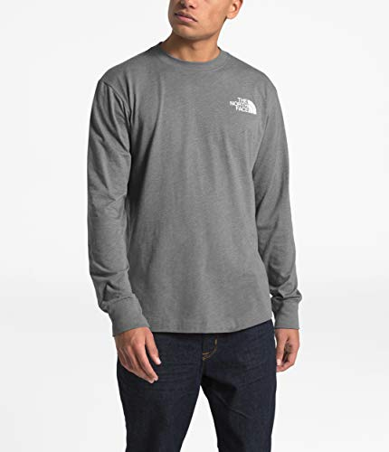 The North Face Long Sleeve Red Box Tee - Men's TNF Medium Grey Heather/Asphalt Grey Small