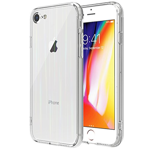 for iPhone 8 Case/iPhone 7 Case, Moko Crystal Clear Colorful TPU Bumper Full Protective Anti-Scratch Shock-Absorption Transparent Back Glass Panel Cover for Apple iPhone 8/7, Clear Colorful