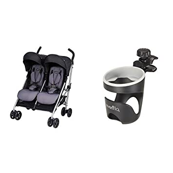 Evenflo Minno Twin Double Stroller, Glenbarr Grey with Universal Stroller Organizer