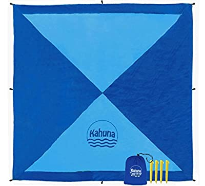 Kahuna 'Next Gen' Parachute Beach Blanket - Oversized XL Extra Large 8x8 Feet - The Biggest Sand Proof Beach Sheet Picnic Blanket Available - Portable, Lightweight, Quick-drying, With 12 Sand Pockets
