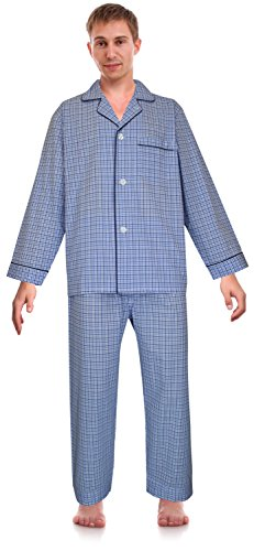 RK Classical Sleepwear Men's Broadcloth Woven Pajama Set, Size Large