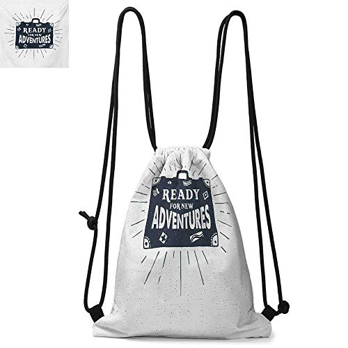 Adventure Made of polyester fabric Ready for New Adventures Briefcase Traveling Journey Themed Design Work of Art Print Waterproof drawstring backpack W13.8 x L17.7 Inch Indigo