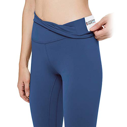 AladdinShare Workout Leggings for Women - High Waisted Ultra Soft Yoga Pants Tummy Control Compression with Pockets Navy Blue S