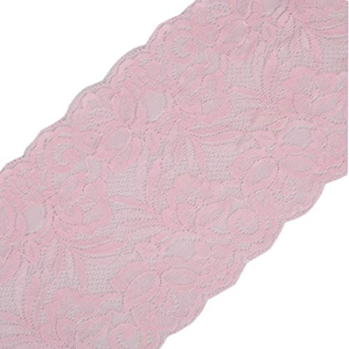 Yalulu 5 Yards x 15CM Width Embroidered Stretch Floral Lace Edge Trim Ribbon Applique DIY Garment Sewing Craft Wedding Decoration (Pink)