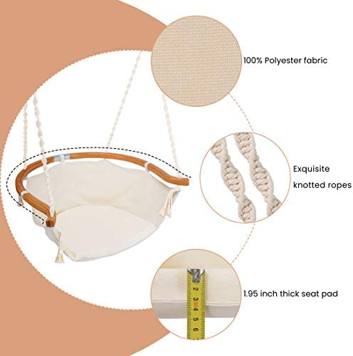 Hammock Chair Macrame Swing, Foldable Bamboo Comfort Back Support, Max 330 Lbs Hanging Cotton Rope Hammock Swing Chair for Indoor Outdoor Use