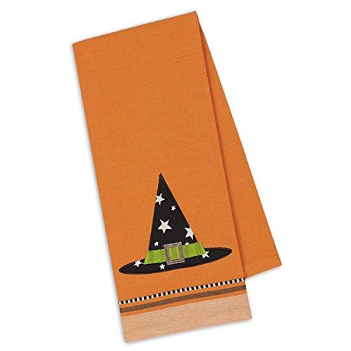 Design Imports Embroidered Witch Hat Halloween Dish Towel - 18