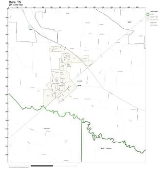 Bells Tennessee Map.Amazon Com Zip Code Wall Map Of Bells Tn Zip Code Map Not