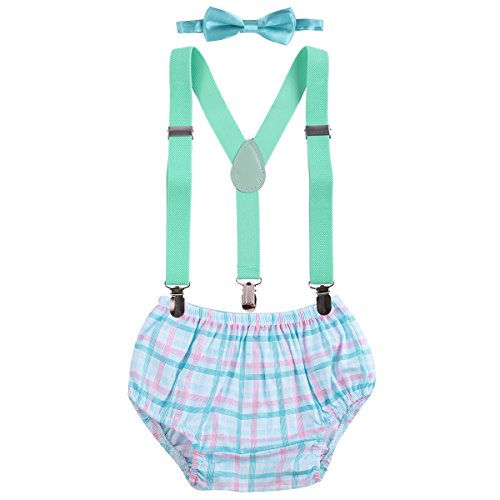Baby Boys Cake Smash Outfit First Birthday Bloomers Bowtie Adjustable Y Back Suspenders Clothes set Turquoise Plaid Gingham One Size