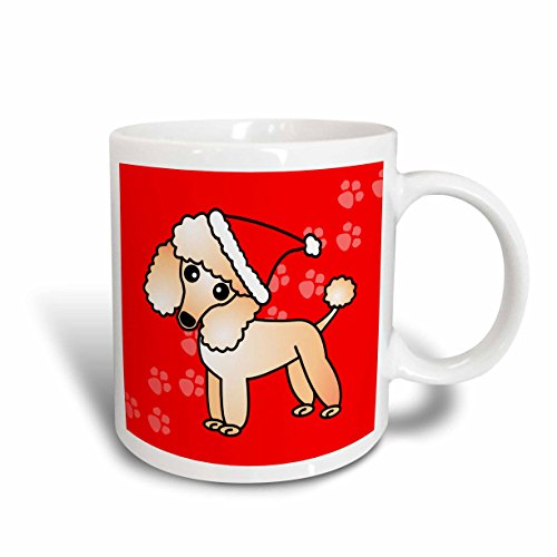 3dRose 13773_1 Cute Apricot Poodle Red Paw Background with Santa Hat-Ceramic Mug, 11 oz, Multicolored