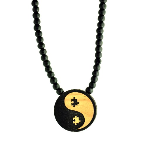 Yin and the Yang puzzle pieces Wooden Pendant with Wood Bead Necklace SwaggWood Made in USA