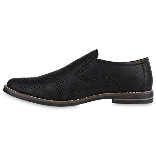 Stiefelparadies Herren Loafers Quasten Klassische Slipper Velours Slip-Ons Herrenschuhe Leder-Optik Schuhe Business Schuhe Flats Flandell Schwarz Lochung