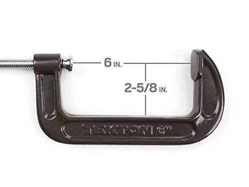 Image of TEKTON 6-Inch Malleable Iron C-Clamp, 6-Inch Jaw Opening, 2-5/8-Inch Throat Depth | 4027