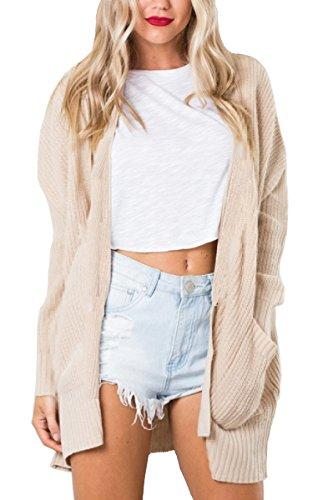Beige Womens Cardigan (ECOWISH Womens Long Sleeve Open Front Knit Cardigan Sweater Casual Pockets Coat Outwear,Beige,US M)