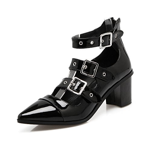 Nine Seven Cuero Puntiagudos Zapatos de Tacón Grueso con Hebilla y Cremallera para Mujer negro