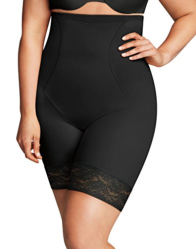 Flexees Women's Maidenform Curvy Firm Foundations Hi Waist Thigh Slimmer, Black, 2X Large