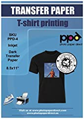 """Commercial grade t-shirt transfer paper for black and dark color fabrics in 8.5X11"""" by Photo Paper Direct ( PPD ). Create custom designs that can include text, images or the two combined. Transfer these designs onto a wide range of fab..."""