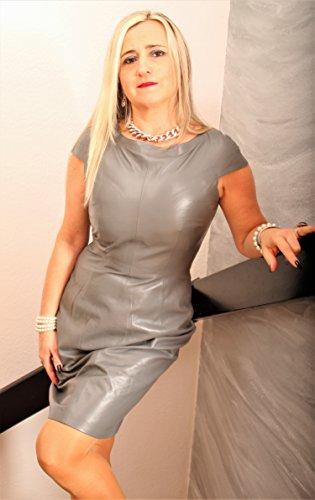 in Leder Maxima Lederkleid grau ECHT elegant aus ZZUXqw