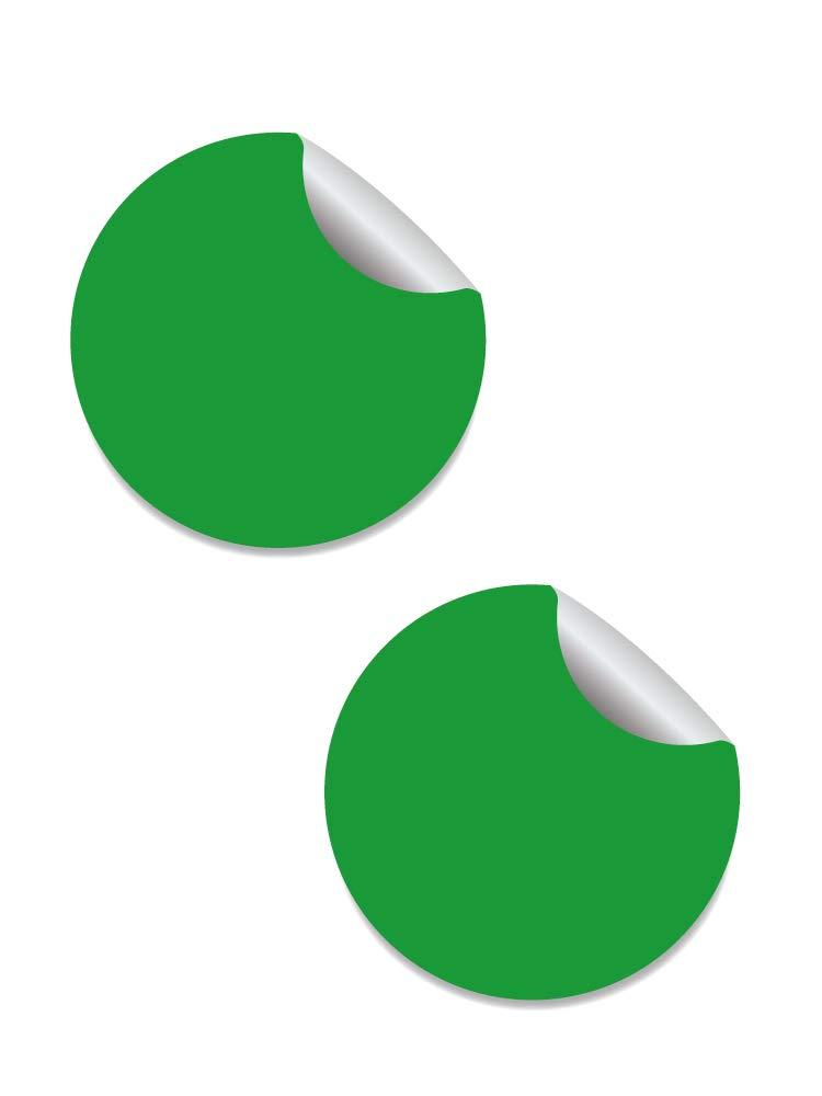 Círculo Adhesivo Verde. Diámetro Personalizado (2 Unidades)