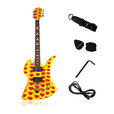Corazón amarilla Heavy Metal - Guitarra eléctrica con accesorios: Amazon.es: Instrumentos musicales