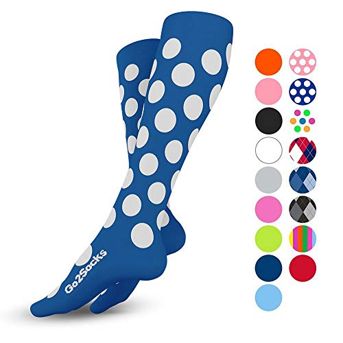 Go2Socks Compression Socks for Men Women Nurses Runners 20-30 mmHg (high) - Medical Stocking Maternity Travel - Best Performance Recovery Circulation Stamina - (2BluPolka,L) (Lightweight Knee High Socks)