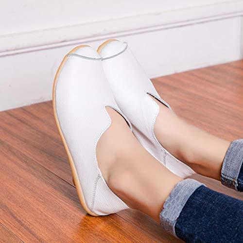 Plates Simples Mocassins Femmes on Blanc Derbys Bateau Couleur bout Chaussures Escarpins Pois Rond Slip Solide nfTBz