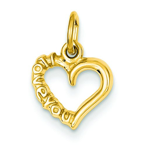 - 14K Yellow Gold I Love You Fancy Heart Charm Jewelry