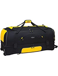 "30"" Adventure by Travelers Club Luggage Rolling 2-Tone Multi-Pocket Large Packing Capacity Duffel with BONUS Bottom Compartment, Yellow and Black Color Option"