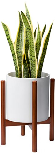 Mkono Plant Stand Mid Century Wood Flower Pot Holder Display Potted Rack Rustic, Up to 10 Inch Planter (Planter Not Included)