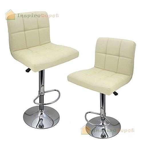 Price comparison product image Set of (2) Cream Leather Modern Bar Stool Pub Swivel Chair Hydraulic Barstools