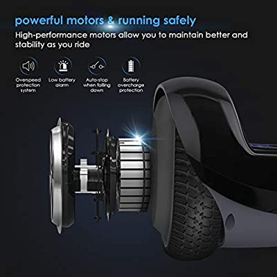 """EYCI Hoverboard Electric Self Balancing Scooter UL 2272 Certified Two Smart 6.5"""" Wheel Scooter with 250W Dual-Motor Ideal Gift for Kids & Adults (Black)"""