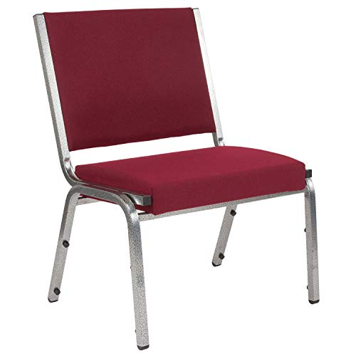 Flash Furniture HERCULES Series 1500 lb. Rated Burgundy Antimicrobial Fabric Bariatric Chair with Silver Vein Frame