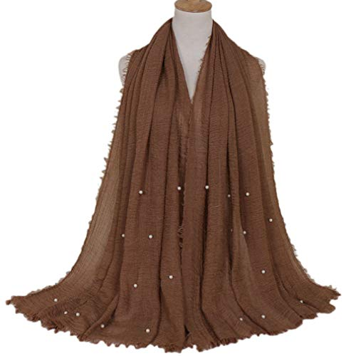 LMVERNA Maxi Scarf Cotton Women wrinke muslim hijab beads scarves fashion long soft wraps scarf (Coffee)