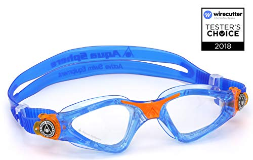 (Aqua Sphere Kayenne Junior Swim Goggles with Clear Lens (Blue/Orange). Swimming Goggles for Kids.)