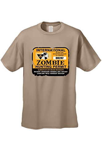SHORE TRENDZ Men's International ZOMBIE HUNTING PERMIT SAND Short Sleeve T-shirt (Small)