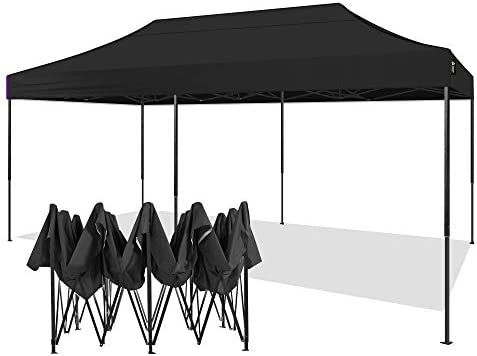 AMERICAN PHOENIX 10×20 Canopy Tent Pop Up Portable Instant Commercial Heavy Duty Outdoor Market Shelter 10 x20 Black Frame , Black