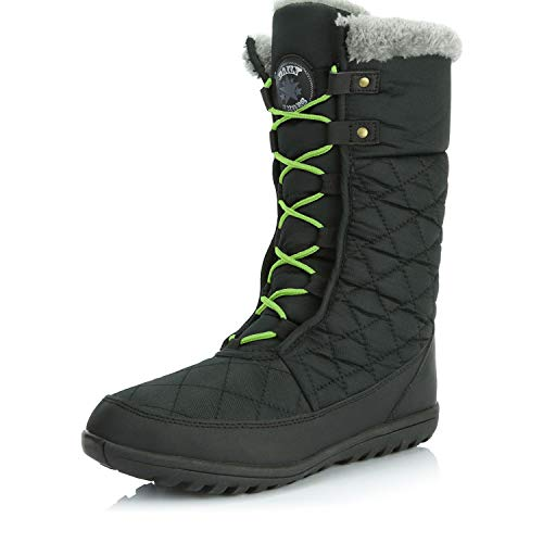 DailyShoes Women's Comfort Round Toe Mid Calf Flat Ankle High Eskimo Winter Fur Snow Boots, Lime Green, Black, 8.5 B(M) US ()