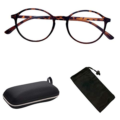 (Plastic Tortoise Frame Round Reading Glasses with wide temple curved +3.50)