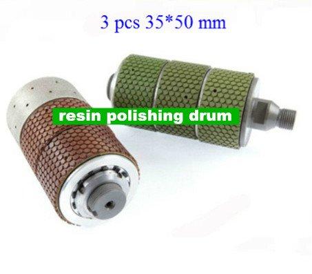 GOWE Diamond resin bonded polishing drum wheels  3 pcs of 35*50mm polish resin drum 0