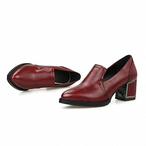 Latasa Womens Fashion Chunky Mid-heel Pointed-toe Loafers Shoes Red J7VmfjH