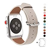 WFEAGL Compatible Apple Watch Band 38mm 42mm, Top Grain Leather Band Replacement Strap with Stainless Steel Clasp for iWatch Series 3,Series 2,Series 1,Sport, Edition(IvoryWhite Band)
