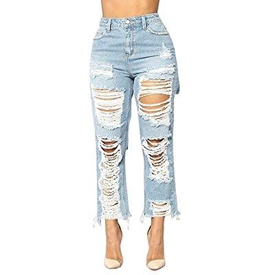 Greatgiftlist High Waist Women Knee Skinny Denim Distressed Ripped Boyfriend Casual Mid Waist Stretch Pencil Jeans