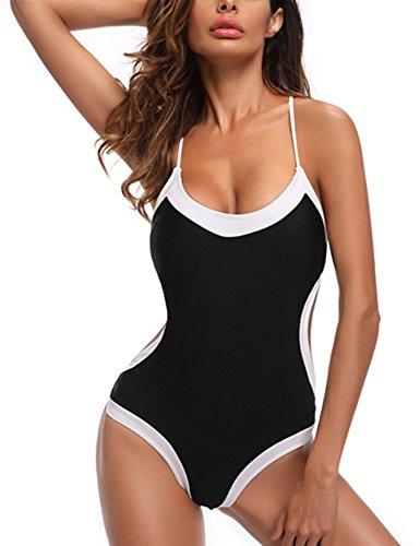 1b77c365d5 ... Wear Froomer Women's Sexy One Piece Halter Swimsuit Backless Crisscross  Monokini Swimwear Bathing ...