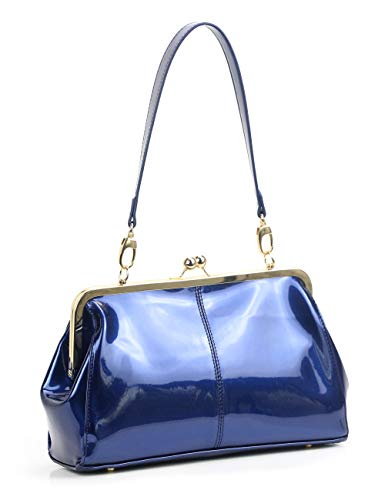 Vintage Kiss Lock Handbags Shiny Patent Leather Evening Clutch Purse Tote Bags with Chain Strap (Blue)