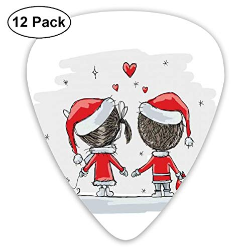 Guitar Picks - Abstract Art Colorful Designs,Soul Mates Love With Santa Costume Family Romance In Winter Night Picture Print,Unique Guitar Gift,For Bass Electric & Acoustic Guitars-12 Pack -