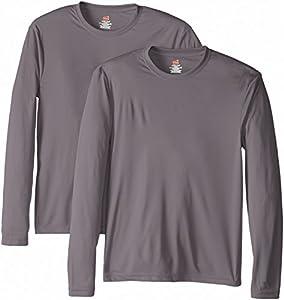 Hanes Men's Long Sleeve Cool DRI T-Shirt UPF 50+, Graphite, Large (Pack of 2)