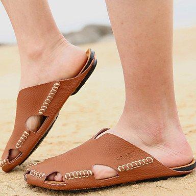 Sandalias de verano zapatos de hombre / Exterior / atléticos casual Zapatillas de cuero negro / marrón / Amarillo / Blanco Amarillo