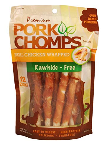 Pork Chomps DT905V 12CT ' Premium Mini Twist W/Real Chicken, Brown